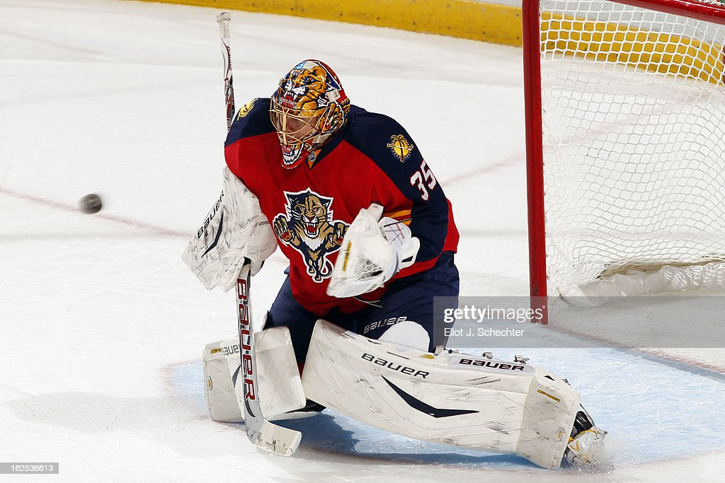 Goaltender <a gi-track='captionPersonalityLinkClicked' href=/galleries/search?phrase=Jacob+Markstrom&family=editorial&specificpeople=5370948 ng-click='$event.stopPropagation()'>Jacob Markstrom</a> #35 of the Florida Panthers defends the net against the Boston Bruins at the BB&T Center on February 24, 2013 in Sunrise, Florida.