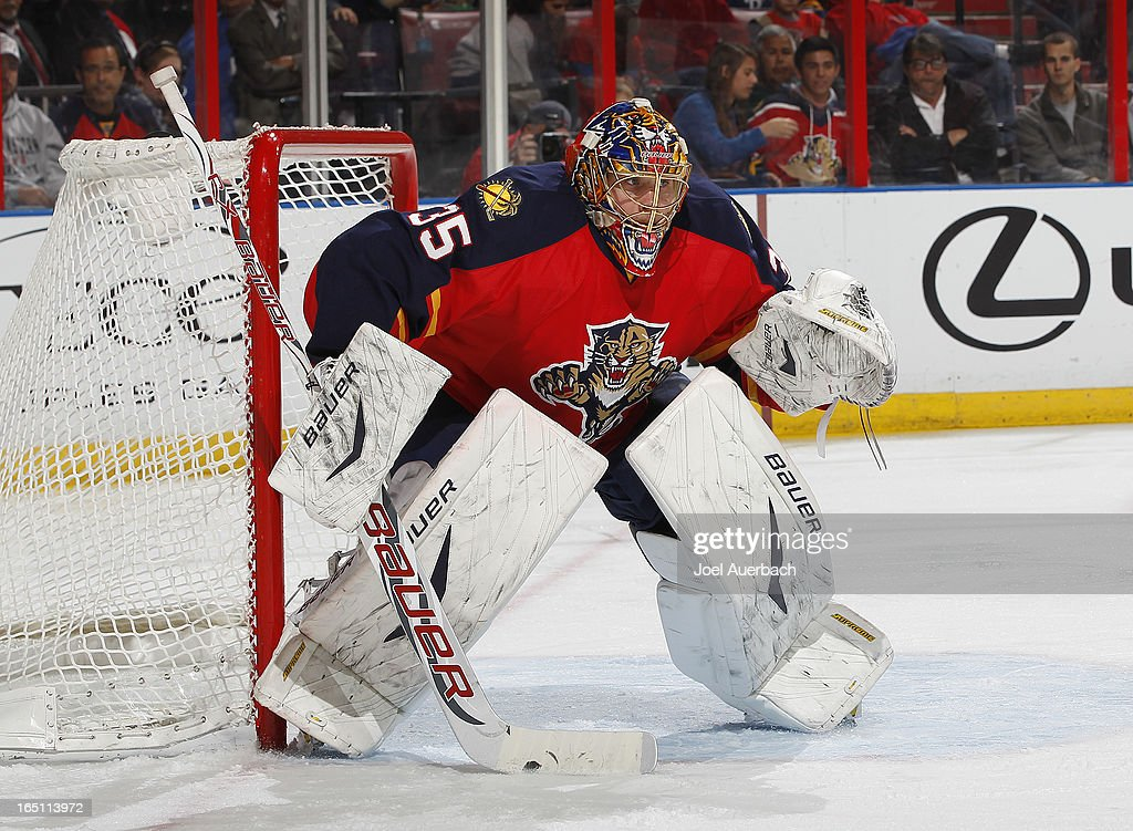 Goaltender Jacob Markstrom #35 of the Florida Panthers defends the net against the Buffalo Sabres at the BB&T Center on March 28, 2013 in Sunrise, Florida. The Panthers defeated the Sabres 5-4 in a shoot out.