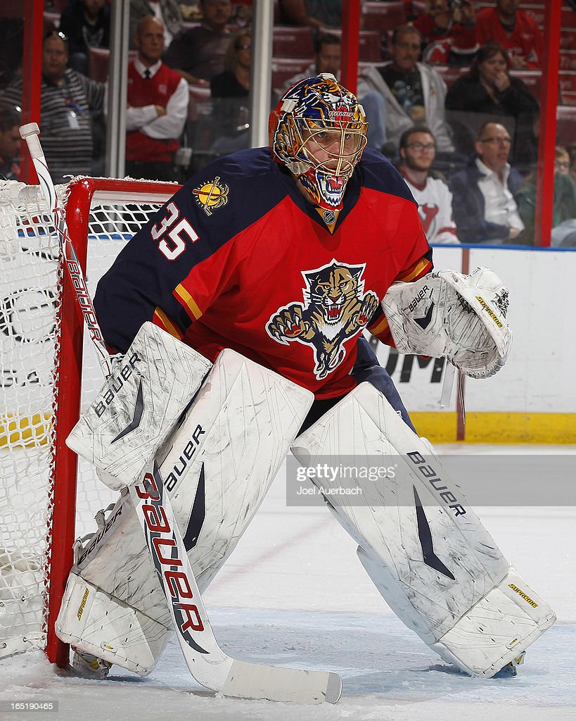 Goaltender Jacob Markstrom #35 of the Florida Panthers defends the net against the New Jersey Devils at the BB&T Center on March 30, 2013 in Sunrise, Florida. The Panthers defeated the Devils 3-2 in overtime.