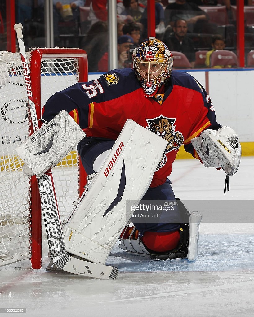 Goaltender <a gi-track='captionPersonalityLinkClicked' href=/galleries/search?phrase=Jacob+Markstrom&family=editorial&specificpeople=5370948 ng-click='$event.stopPropagation()'>Jacob Markstrom</a> #35 of the Florida Panthers defends the net against the Pittsburgh Penguins at the BB&T Center on April 13, 2013 in Sunrise, Florida.