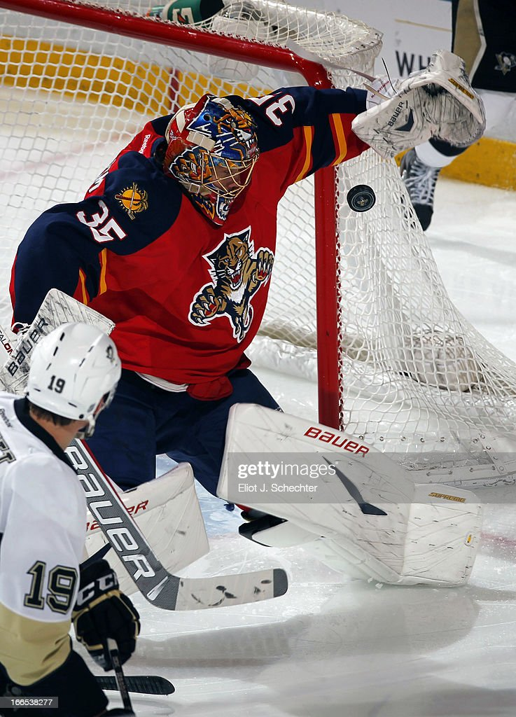 Goaltender Jacob Markstrom #35 of the Florida Panthers defends the net against the Pittsburgh Penguins at the BB&T Center on April 13, 2013 in Sunrise, Florida.