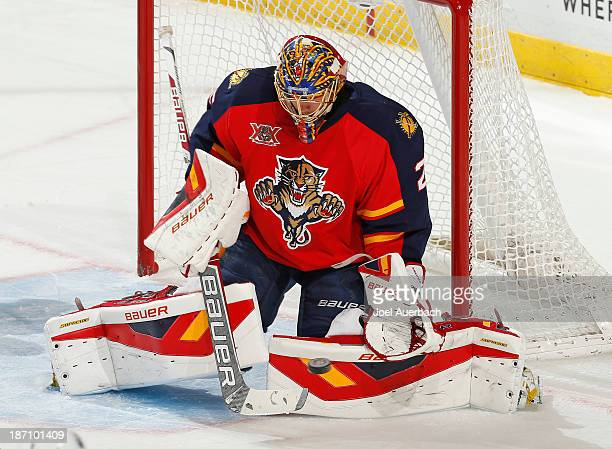 Goaltender Jacob Markstrom of the Florida Panthers defends the net against the Edmonton Oilers at the BBT Center on November 5 2013 in Sunrise...