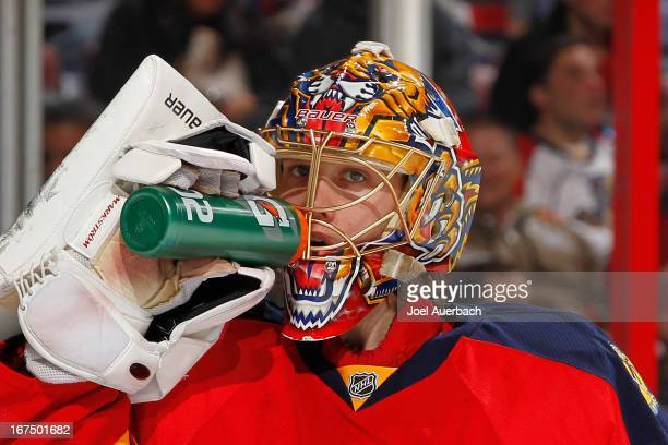 Goaltender Jacob Markstrom of the Florida Panthers has a drink during a break in action against the New York Rangers at the BBT Center on April 23...