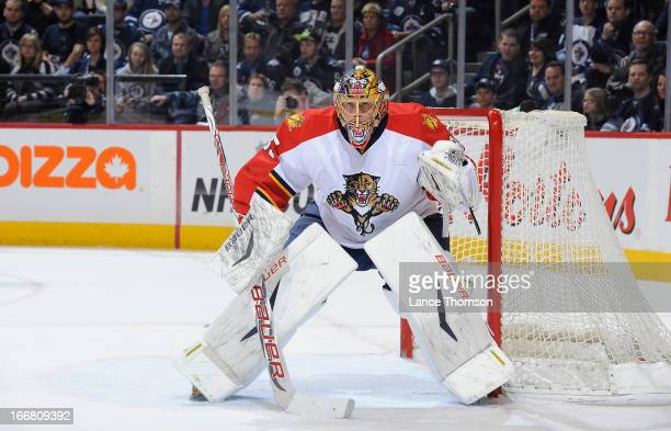 Goaltender Jacob Markstrom of the Florida Panthers keeps an eye on the play during first period action against the Winnipeg Jets at the MTS Centre on...