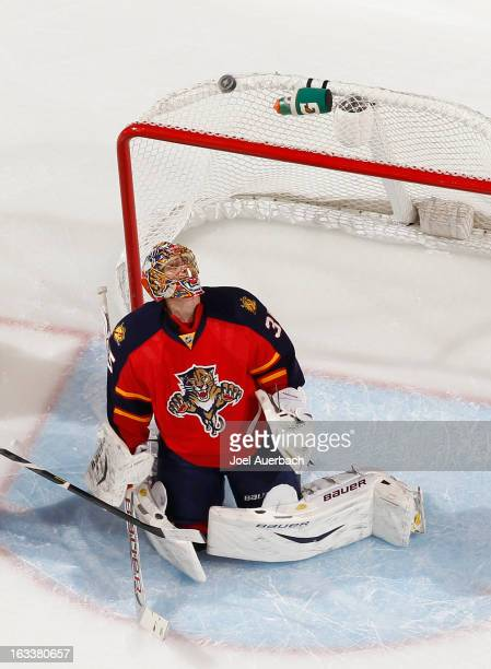 Goaltender Jacob Markstrom of the Florida Panthers looks up at the rebound of a shot by the Winnipeg Jets at the BBT Center on March 8 2013 in...
