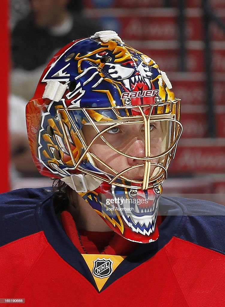 Goaltender Jacob Markstrom #35 of the Florida Panthers looks up ice during a break in action against the New Jersey Devils at the BB&T Center on March 30, 2013 in Sunrise, Florida. The Panthers defeated the Devils 3-2 in overtime.