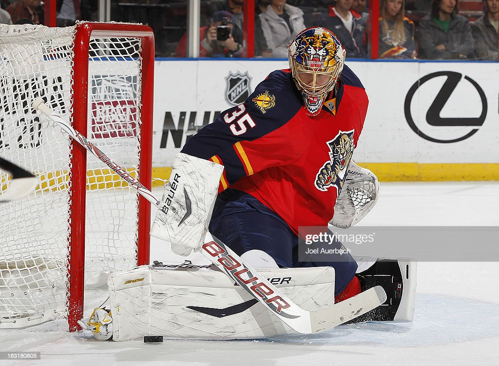 Goaltender <a gi-track='captionPersonalityLinkClicked' href=/galleries/search?phrase=Jacob+Markstrom&family=editorial&specificpeople=5370948 ng-click='$event.stopPropagation()'>Jacob Markstrom</a> #35 of the Florida Panthers stops a shot by the Winnipeg Jets at the BB&T Center on March 5, 2013 in Sunrise, Florida. The Panthers defeated the Jets 4-1.