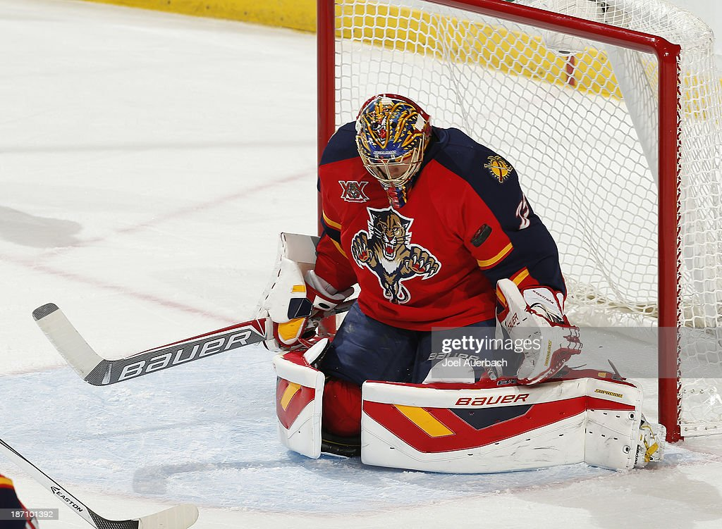 Goaltender Jacob Markstrom #25 of the Florida Panthers stops a shot with his shoulder during overtime against the Edmonton Oilers at the BB&T Center on November 5, 2013 in Sunrise, Florida. The Oilers defeated the Panthers 4-3 in overtime.