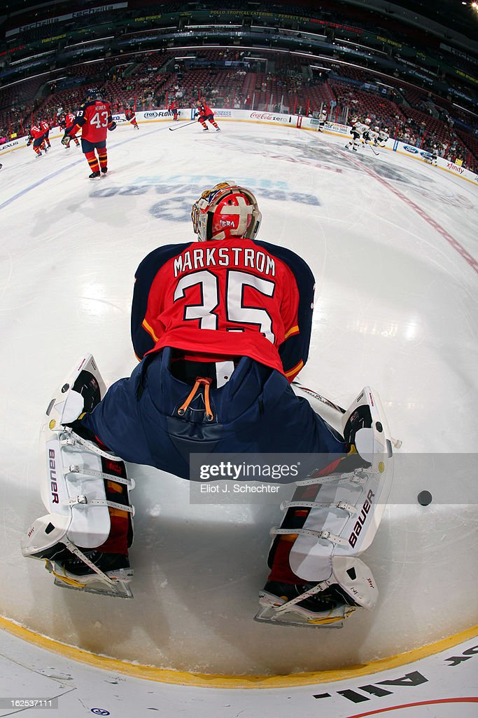 Goaltender <a gi-track='captionPersonalityLinkClicked' href=/galleries/search?phrase=Jacob+Markstrom&family=editorial&specificpeople=5370948 ng-click='$event.stopPropagation()'>Jacob Markstrom</a> #35 of the Florida Panthers warms up on the ice prior to the start of the game against the Boston Bruins at the BB&T Center on February 24, 2013 in Sunrise, Florida.