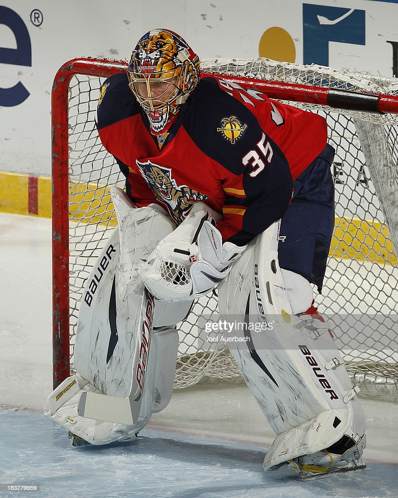 Goaltender Jacob Markstrom #35 of the Florida Panthers warms up prior to the game against the Winnipeg Jets at the BB&T Center on March 5, 2013 in Sunrise, Florida. The Panthers defeated the Jets 4-1.