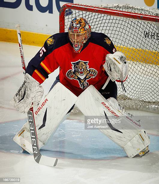 Goaltender Jacob Markstrom of the Florida Panthers warms up prior to the game against the Pittsburgh Penguins at the BBT Center on April 13 2013 in...