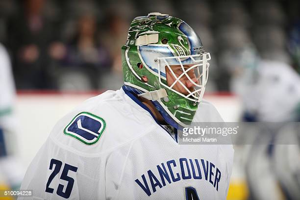 Goaltender Jacob Markstrom of the Vancouver Canucks skates during warm ups prior to the game against the Colorado Avalanche at the Pepsi Center on...