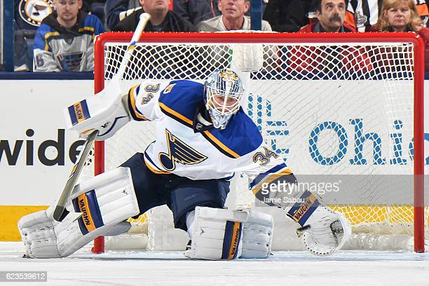 Goaltender Jake Allen of the St Louis Blues defends the net against the Columbus Blue Jackets on November 12 2016 at Nationwide Arena in Columbus...