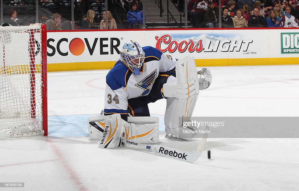 Goaltender Jake Allen #34 of the St Louis Blues makes a save against the Colorado Avalanche at the Pepsi Center on April 21, 2013 in Denver, Colorado. The Avalanche defeated the Blues 5-3.