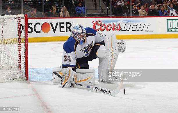 Goaltender Jake Allen of the St Louis Blues makes a save against the Colorado Avalanche at the Pepsi Center on April 21 2013 in Denver Colorado The...