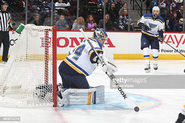 Goaltender Jake Allen of the St Louis Blues makes a save against the Colorado Avalanche at the Pepsi Center on December 23 2014 in Denver Colorado