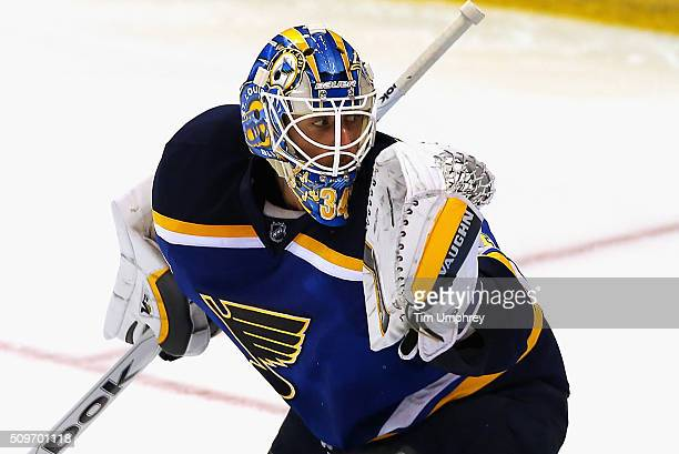 Goaltender Jake Allen of the St Louis Blues plays in the game against the Vancouver Canucks at the Scottrade Center on October 23 2014 in St Louis...