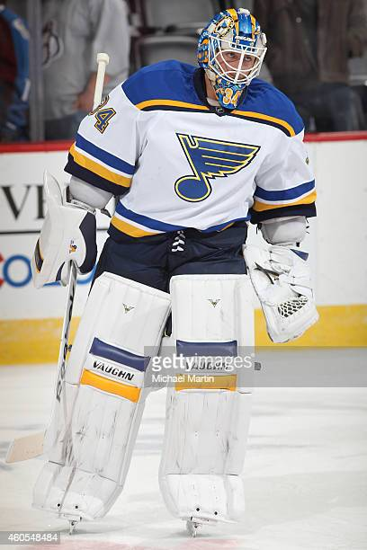 Goaltender Jake Allen of the St Louis Blues skates prior to the game against the Colorado Avalanche at the Pepsi Center on December 13 2014 in Denver...