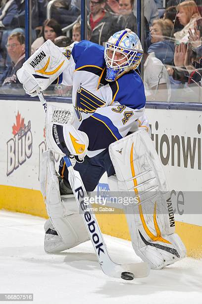 Goaltender Jake Allen of the St Louis Blues skates with the puck against the Columbus Blue Jackets on April 12 2013 at Nationwide Arena in Columbus...
