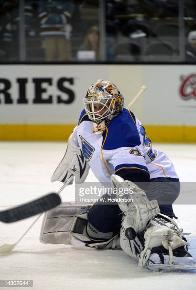 Goaltender Jake Allen of the St Louis Blues warms up before they play the San Jose Sharks in Game Three of the Western Conference Quarterfinals...