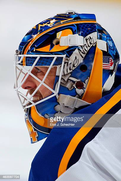Goaltender Jake Allen of the St Louis Blues warms up on the ice prior to the start of the game against the Florida Panthers at the BBT Center on...