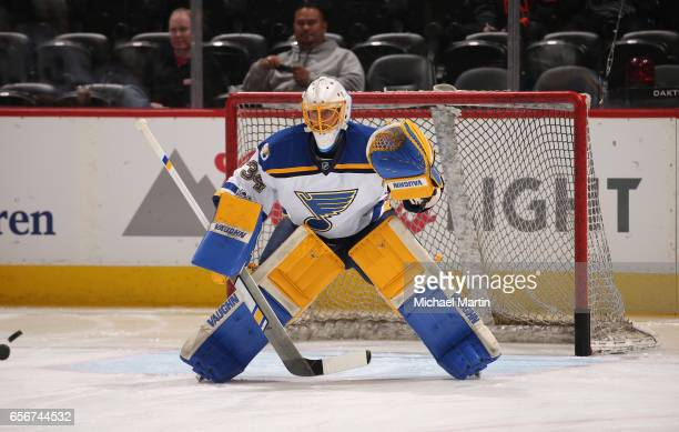 Goaltender Jake Allen of the St Louis Blues warms up prior to the game against the Colorado Avalanche at the Pepsi Center on March 21 2017 in Denver...