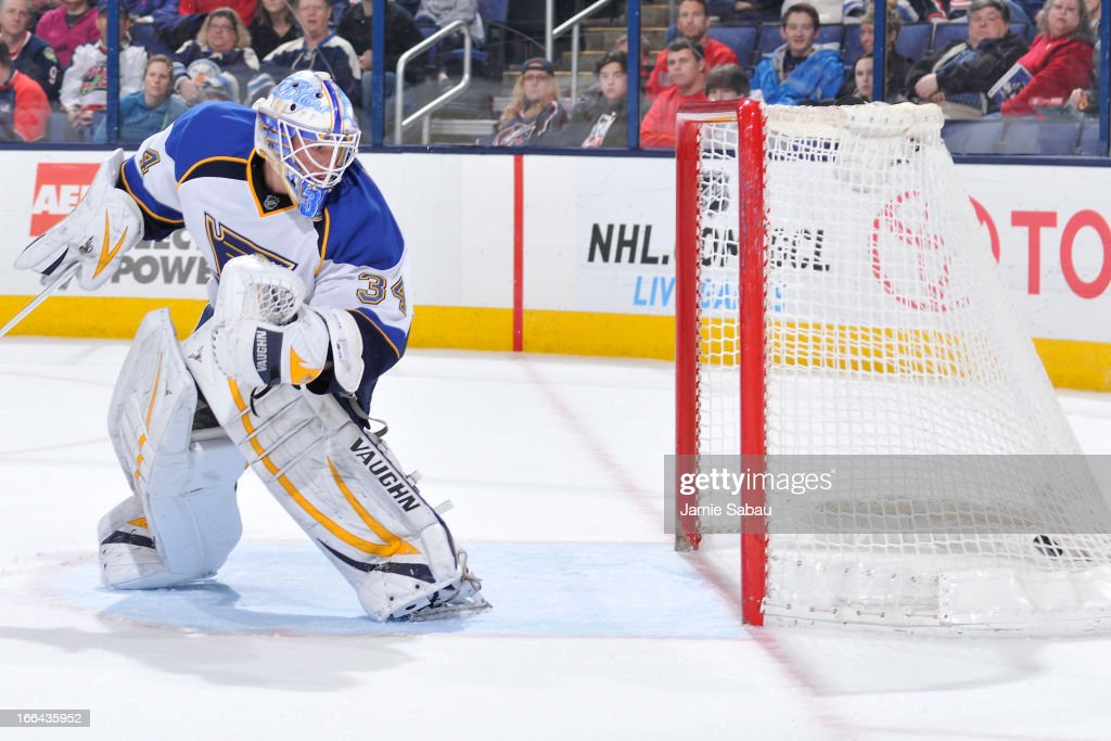 Goaltender Jake Allen #34 of the St. Louis Blues watches as the puck goes into the net during the first period against the Columbus Blue Jackets on April 12, 2013 at Nationwide Arena in Columbus, Ohio.