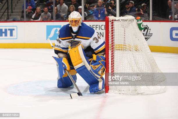 Goaltender Jake Allen the St Louis Blues stands ready during the game between the Colorado Avalanche and the St Louis Blues at the Pepsi Center on...