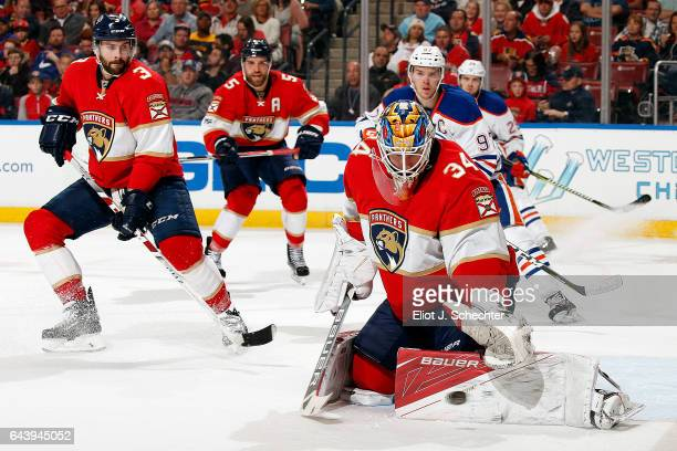 Goaltender James Reimer of the Florida Panthers defends the net against the Edmonton Oilers during the second period at the BBT Center on February 22...