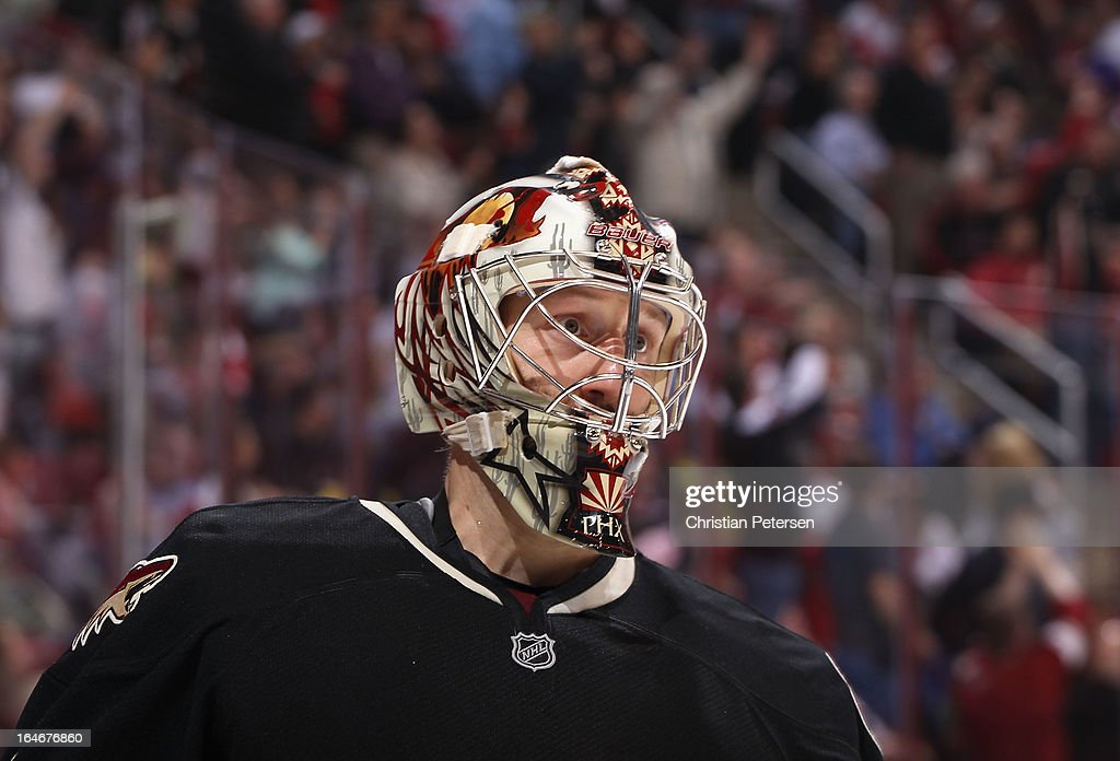 Goaltender <a gi-track='captionPersonalityLinkClicked' href=/galleries/search?phrase=Jason+LaBarbera&family=editorial&specificpeople=240674 ng-click='$event.stopPropagation()'>Jason LaBarbera</a> #1 of the Phoenix Coyotes reacts during the NHL game against the Detroit Red Wings at Jobing.com Arena on March 25, 2013 in Glendale, Arizona. The Red Wings defeated the Coyotes 3-2.