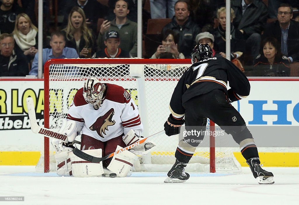Goaltender Jason LaBarbera #1 of the Phoenix Coyotes stops Andrew Cogliano #7 of the Anaheim Ducks on a penalty shot in the second period at Honda Center on March 6, 2013 in Anaheim, California.