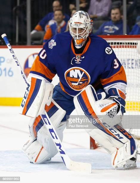 Goaltender Jean Francois Berube of the New York Islanders plays in the game against the Ottawa Senators at Barclays Center on March 23 2016 in...