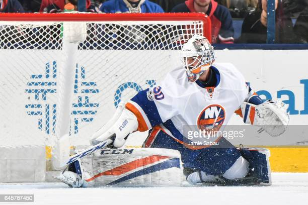 Goaltender JeanFrancois Berube of the New York Islanders defends the net against the Columbus Blue Jackets on February 25 2017 at Nationwide Arena in...