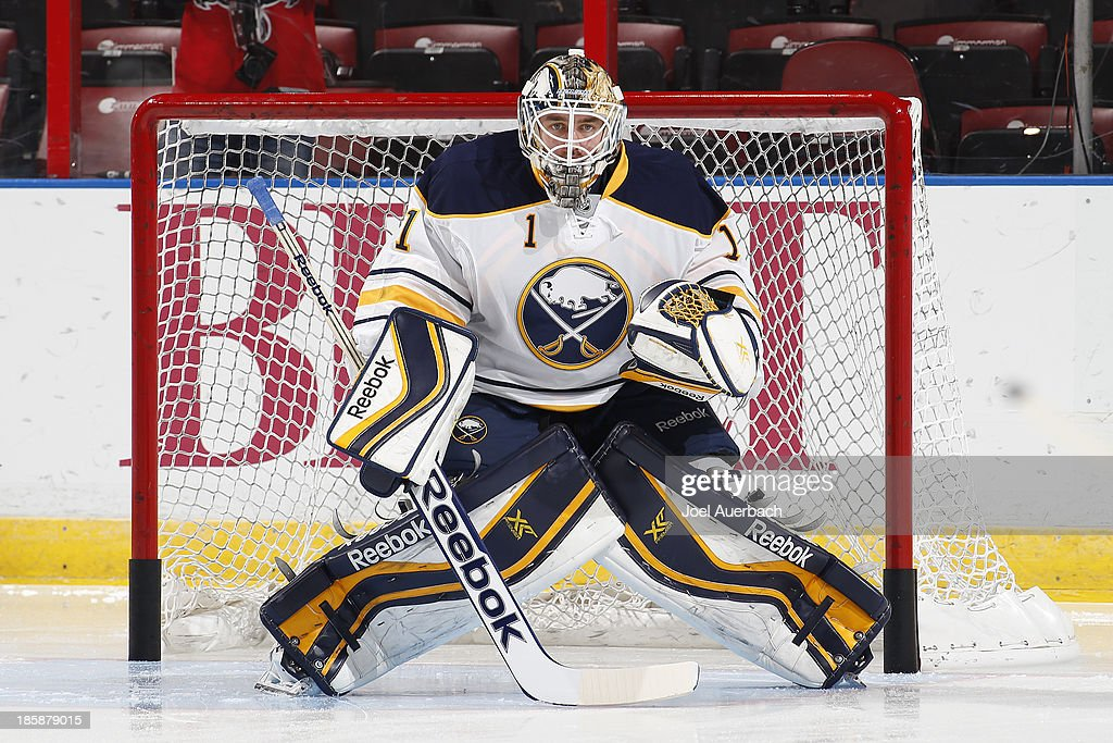 Goaltender Jhonas Enroth #1 of the Buffalo Sabres warms up prior to the game against the Florida Panthers at the BB&T Center on October 25, 2013 in Sunrise, Florida.