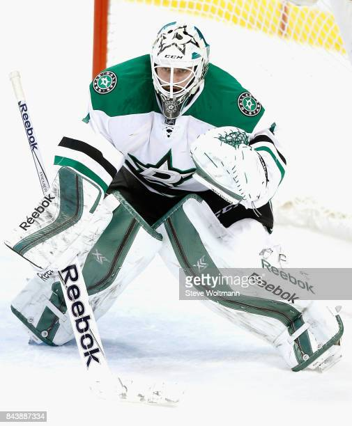Goaltender Jhonas Enroth of the Dallas Stars plays in the game against the Florida Panthers at BBT Center on March 5 2015 in Sunrise Florida