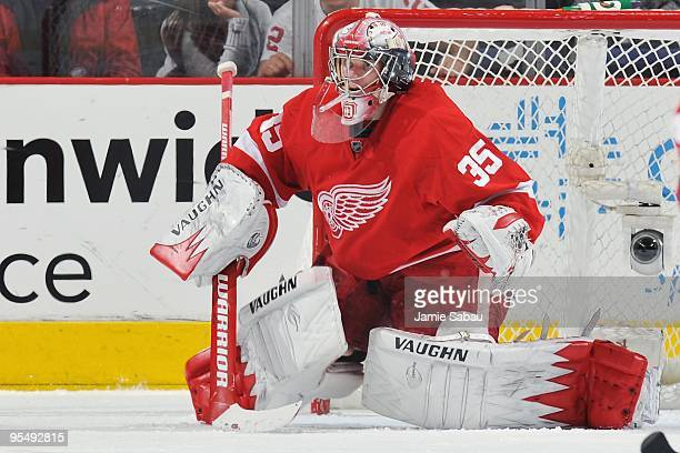 Goaltender Jimmy Howard of the Detroit Red Wings guards the net against the Columbus Blue Jackets on December 28 2009 at Nationwide Arena in Columbus...