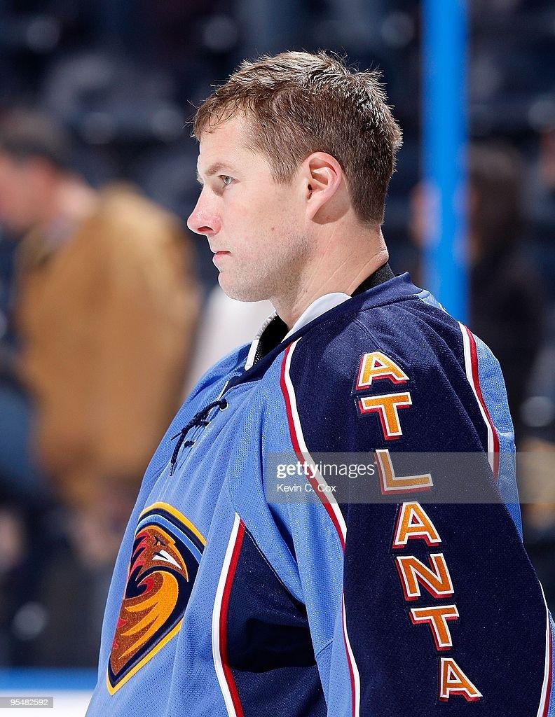 Goaltender Johan Hedberg of the Atlanta Thrashers against the Montreal Canadiens at Philips Arena on December 12 2009 in Atlanta Georgia