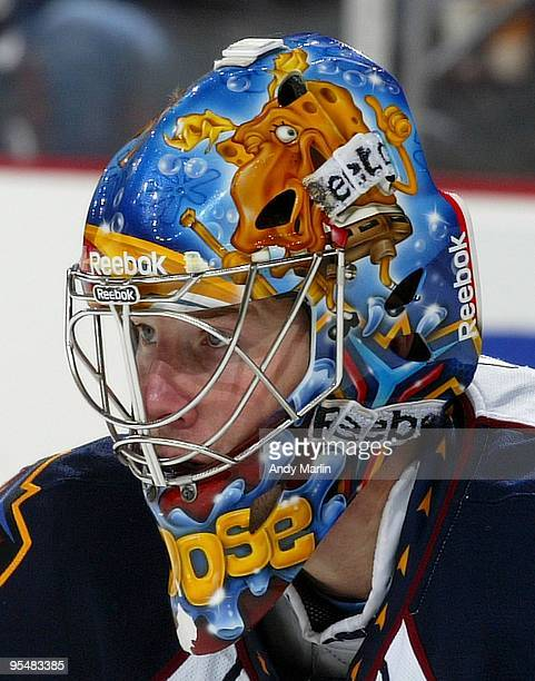 Goaltender Johan Hedberg of the Atlanta Thrashers looks on during a faceoff against the New Jersey Devils during the game at the Prudential Center on...