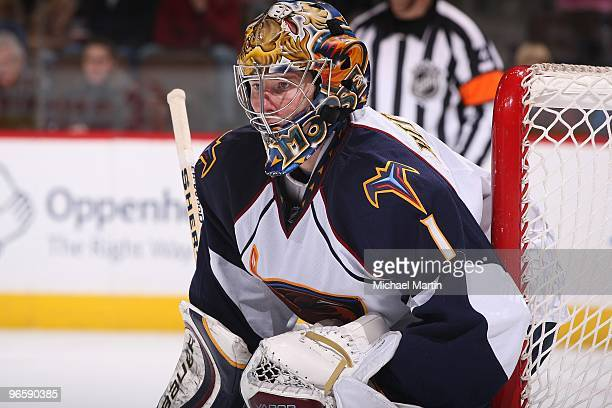 Goaltender Johan Hedberg of the Atlanta Thrashers stands ready against the Colorado Avalanche at the Pepsi Center on February 10 2010 in Denver...