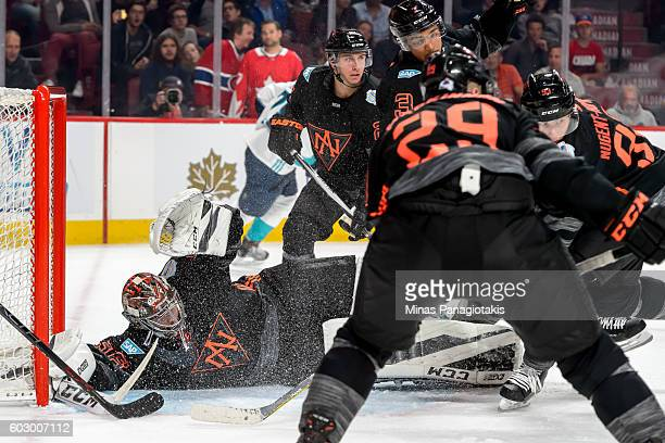 Goaltender John Gibson of Team North America tries to protect his net during the pretournament World Cup of Hockey game against Team Europe at the...