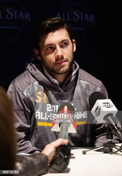 Goaltender John Gibson of the Anaheim Ducks attends Media Day for the 2016 NHL AllStar Game at Bridgestone Arena on January 29 2016 in Nashville...