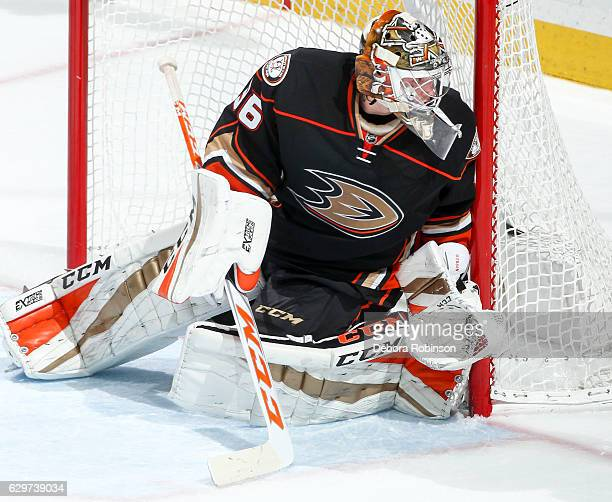 Goaltender John Gibson of the Anaheim Ducks blocks the net during the game against the Carolina Hurricanes at Honda Center on December 7 2016 in...