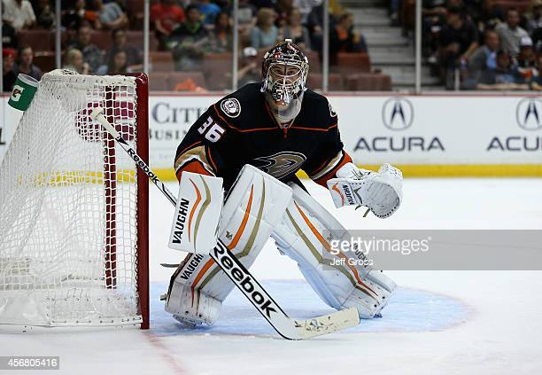 Goaltender John Gibson of the Anaheim Ducks defends against the Arizona Coyotes at Honda Center on September 23 2014 in Anaheim California