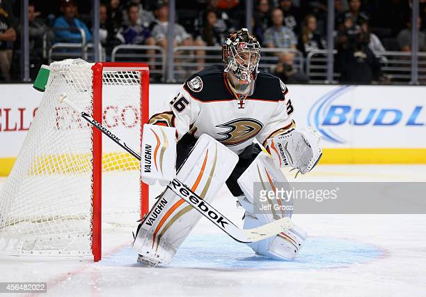 Goaltender John Gibson of the Anaheim Ducks defends against the Los Angeles Kings at Staples Center on September 25 2014 in Los Angeles California