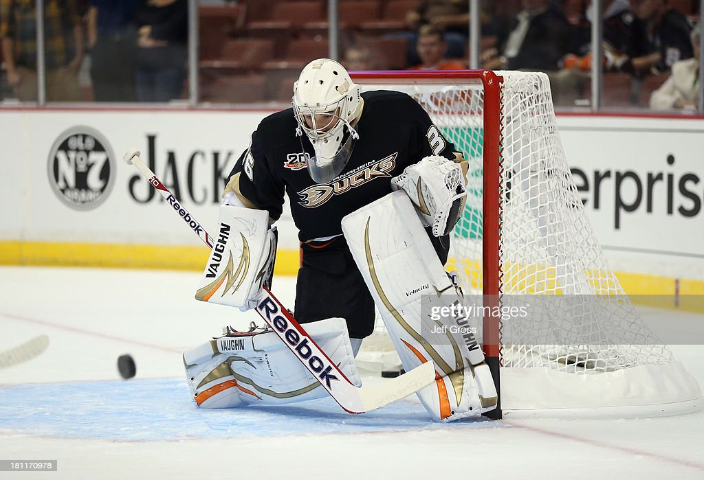 Goaltender John Gibson #36 of the Anaheim Ducks defends his net prior to the start of the game against the Los Angeles Kings at Honda Center on September 17, 2013 in Anaheim, California.