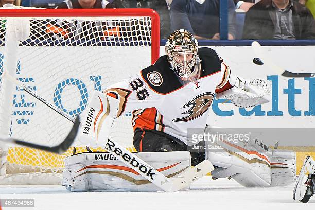 Goaltender John Gibson of the Anaheim Ducks defends the net against the Columbus Blue Jackets on March 24 2015 at Nationwide Arena in Columbus Ohio