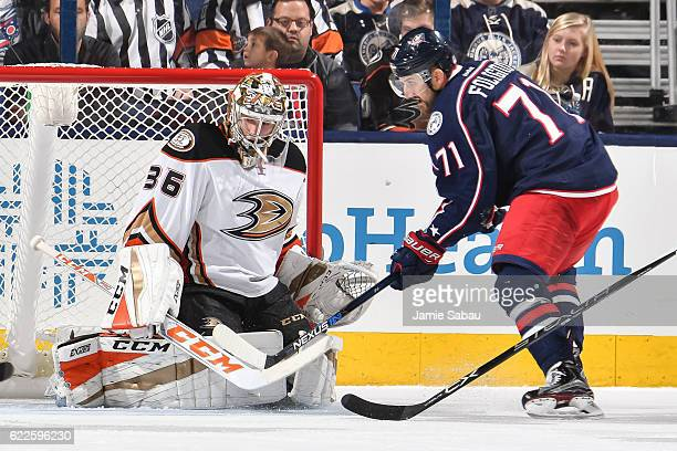 Goaltender John Gibson of the Anaheim Ducks defends the net against the Columbus Blue Jackets on November 9 2016 at Nationwide Arena in Columbus Ohio...