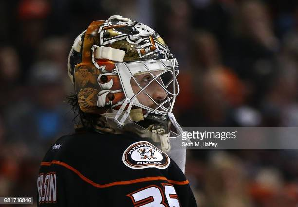 Goaltender John Gibson of the Anaheim Ducks looks on against the Edmonton Oilers in Game Seven of the Western Conference Second Round during the 2017...