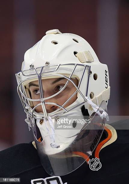 Goaltender John Gibson of the Anaheim Ducks looks on prior to the start of the game against the Los Angeles Kings at Honda Center on September 17...