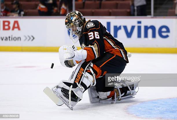 Goaltender John Gibson of the Anaheim Ducks makes a save prior to the start of the game against the Arizona Coyotes at Honda Center on September 23...